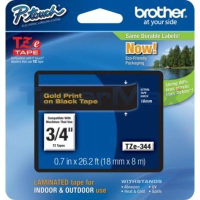 BROTHER TZ LAMINATED TAPE GOLD ON BLACK 0.7 IN X 26.2 FT